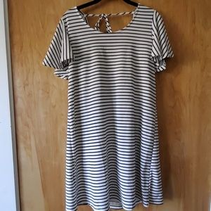 Breezy striped dress with flutter sleeves
